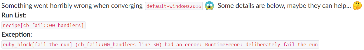 Slack Message with Chef error details