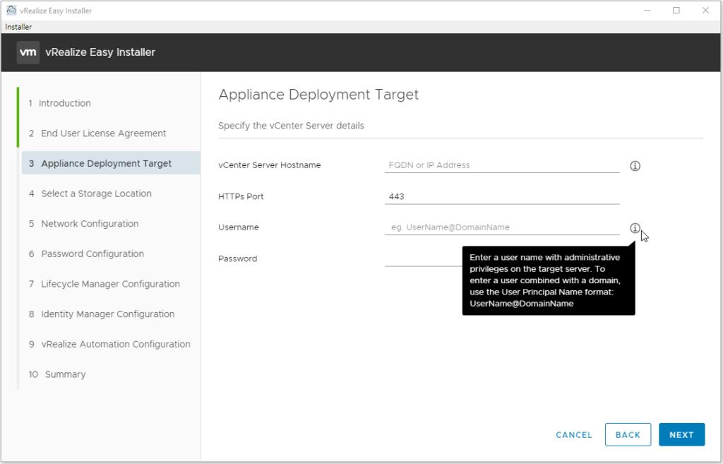 Appliance Deployment Target screen