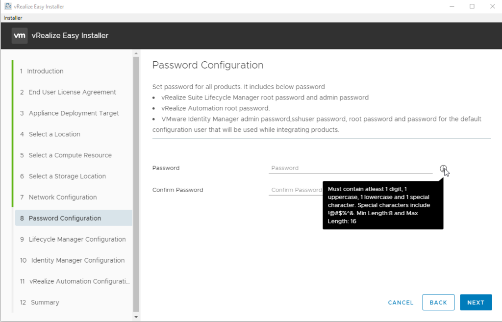 The Password Configuration page