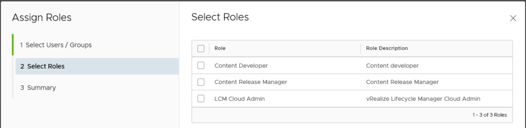 Roles in Lifecycle Manager