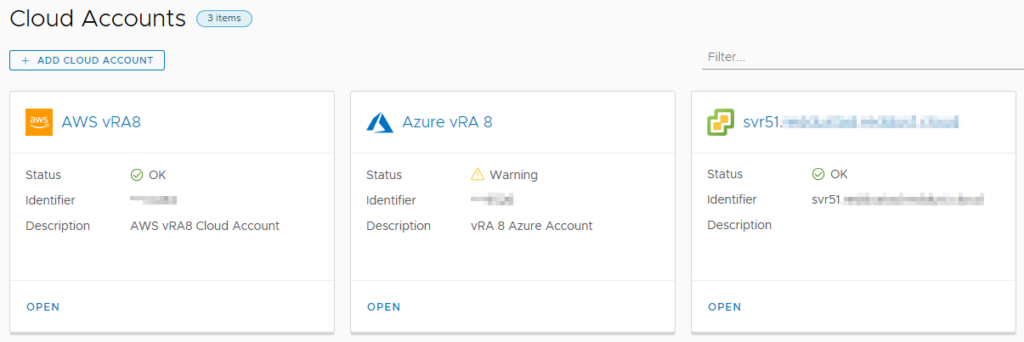 Cloud Accounts already configured for vRealize Automation