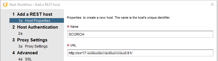 Host properties for Add a REST Host