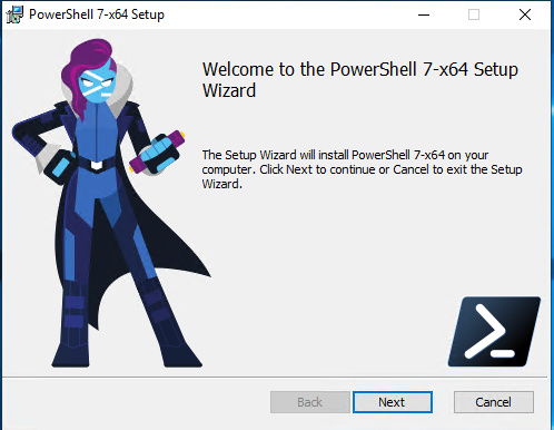 PowerShell 7 install wizard welcome screen